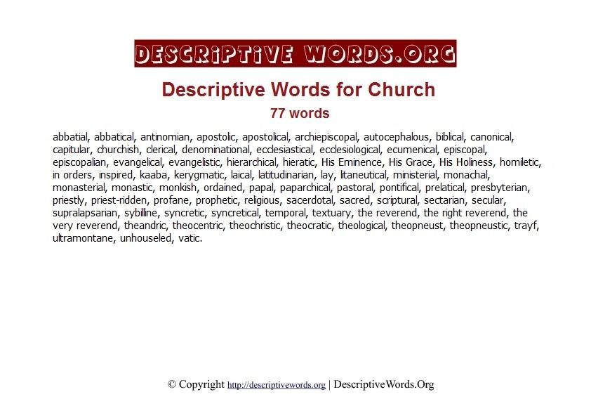 Church Descriptive Words