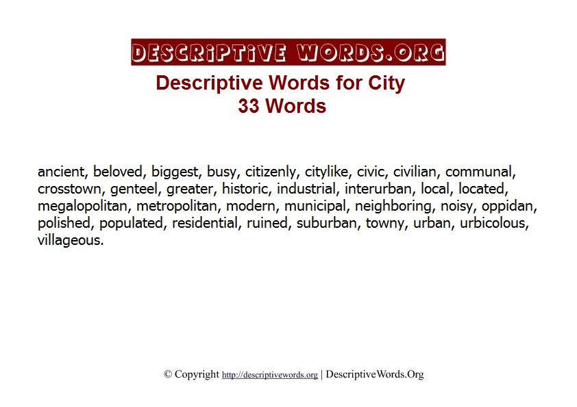 City Descriptive Words