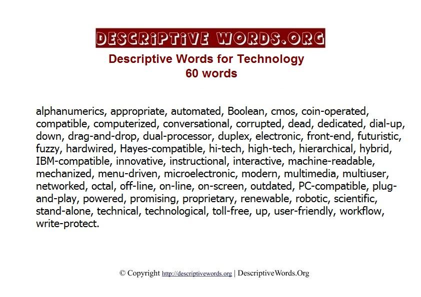Technology Descriptive Words