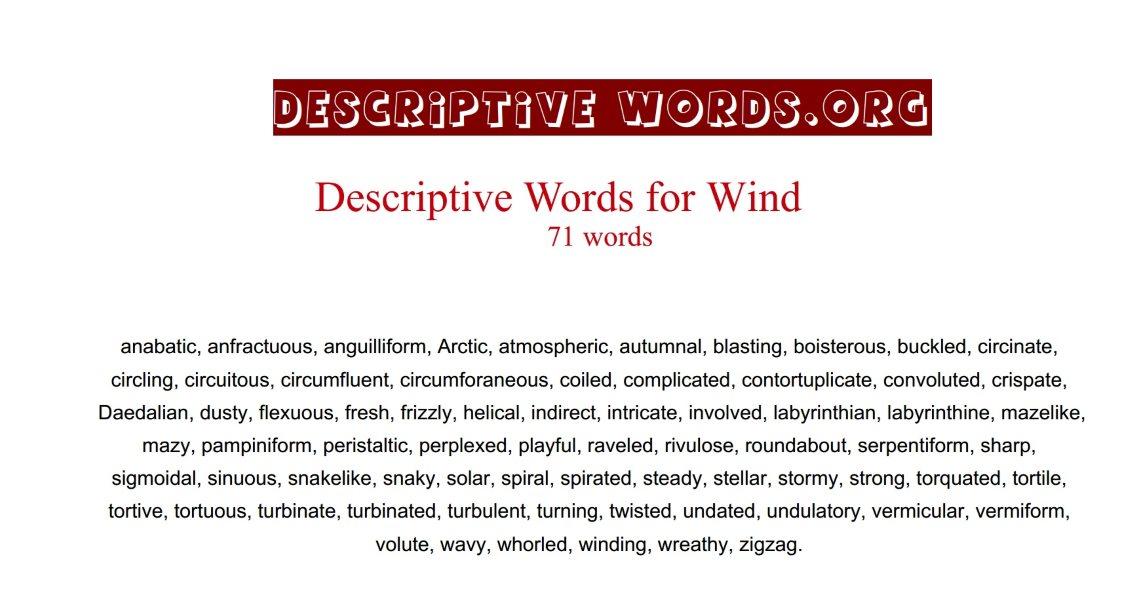 Wind Descriptive Words