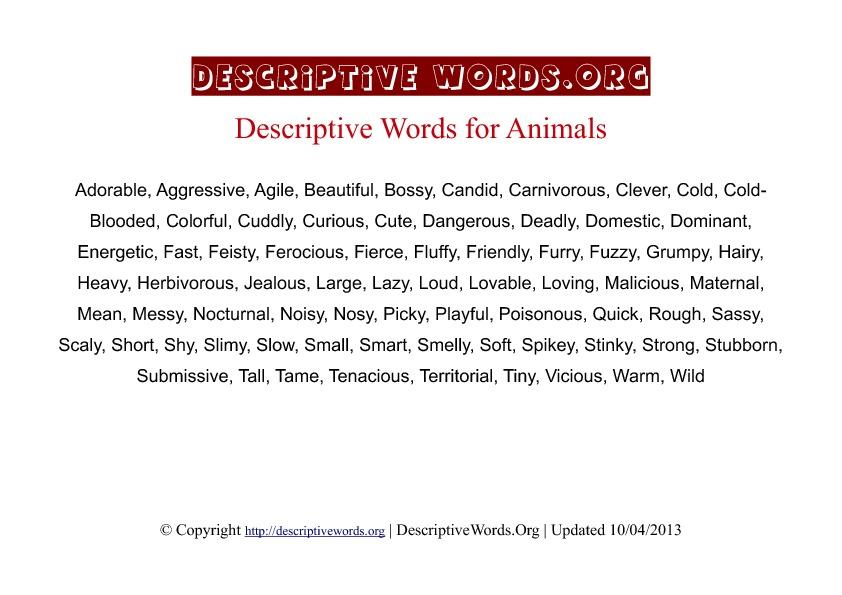 Animals Descriptive Words