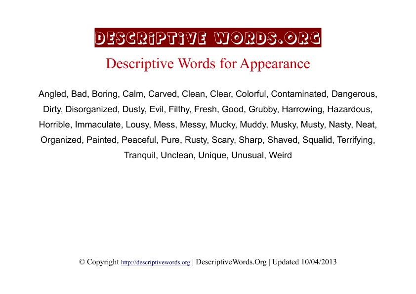 Appearance Descriptive Words