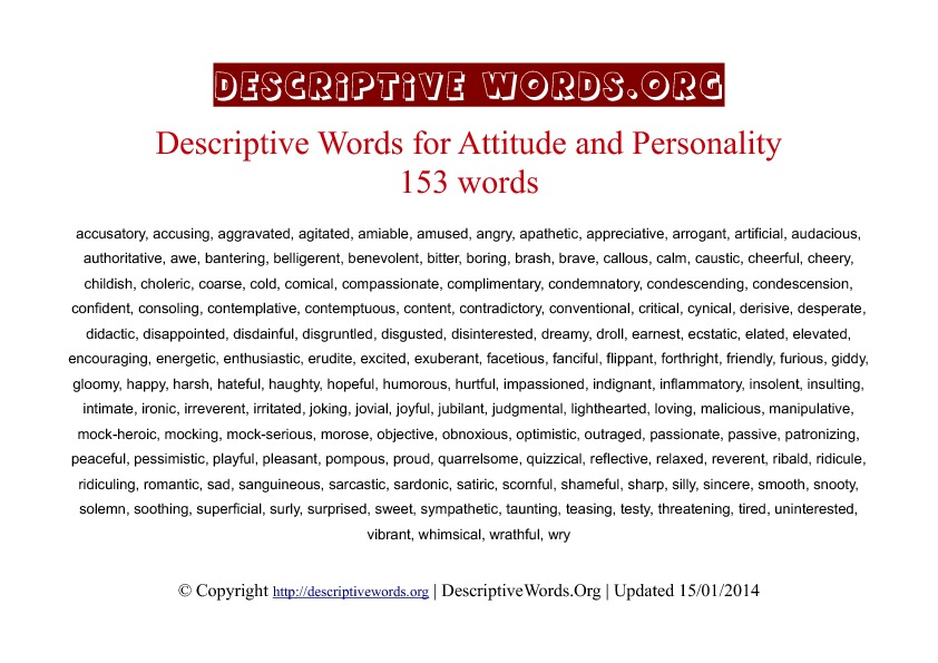 Attitude and Personality Descriptive Words