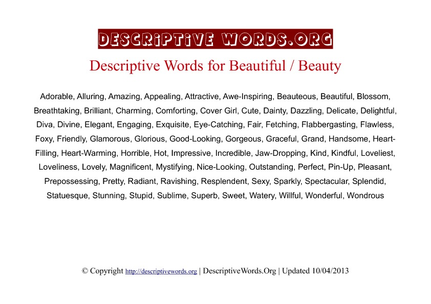 Beauty Descriptive Words
