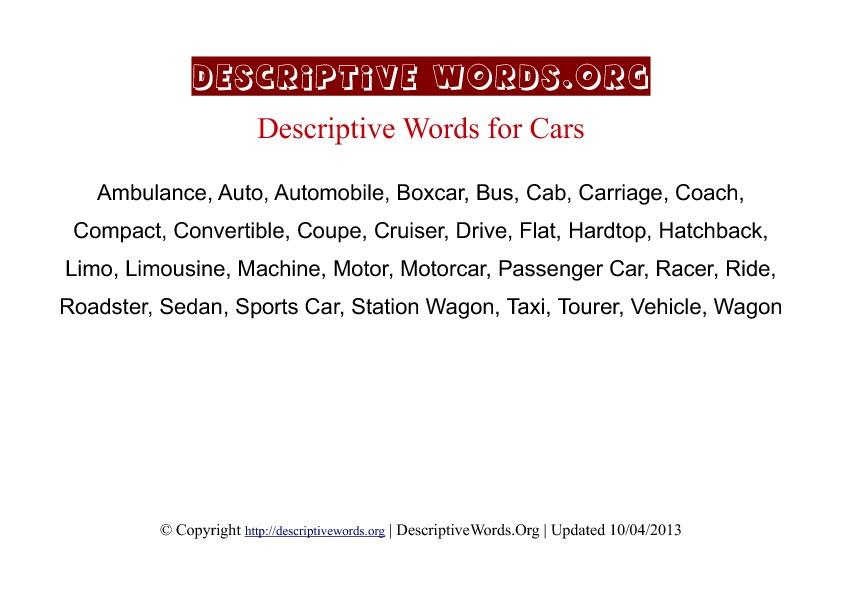 Cars Descriptive Words