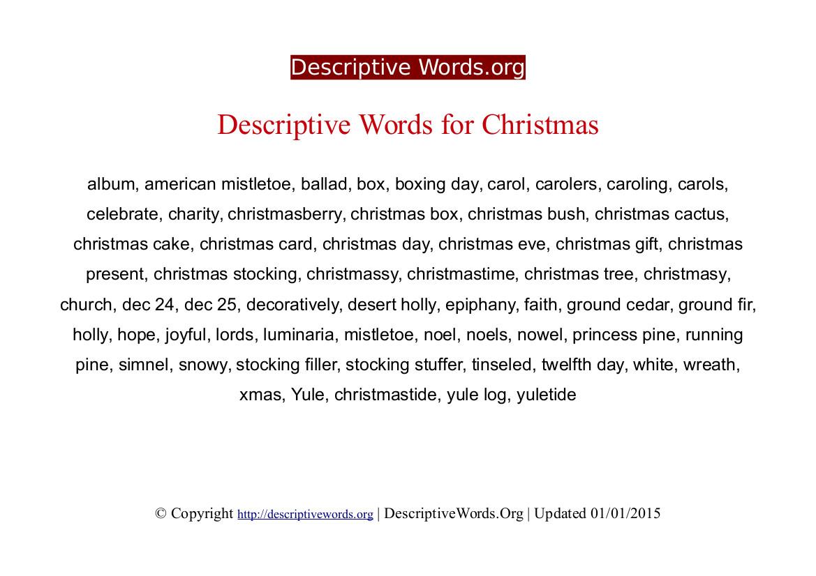 Christmas Descriptive Words