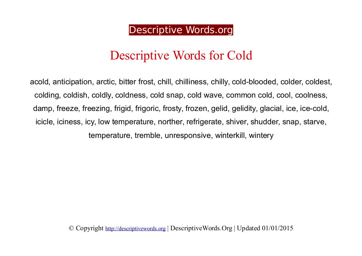 Cold Descriptive Words