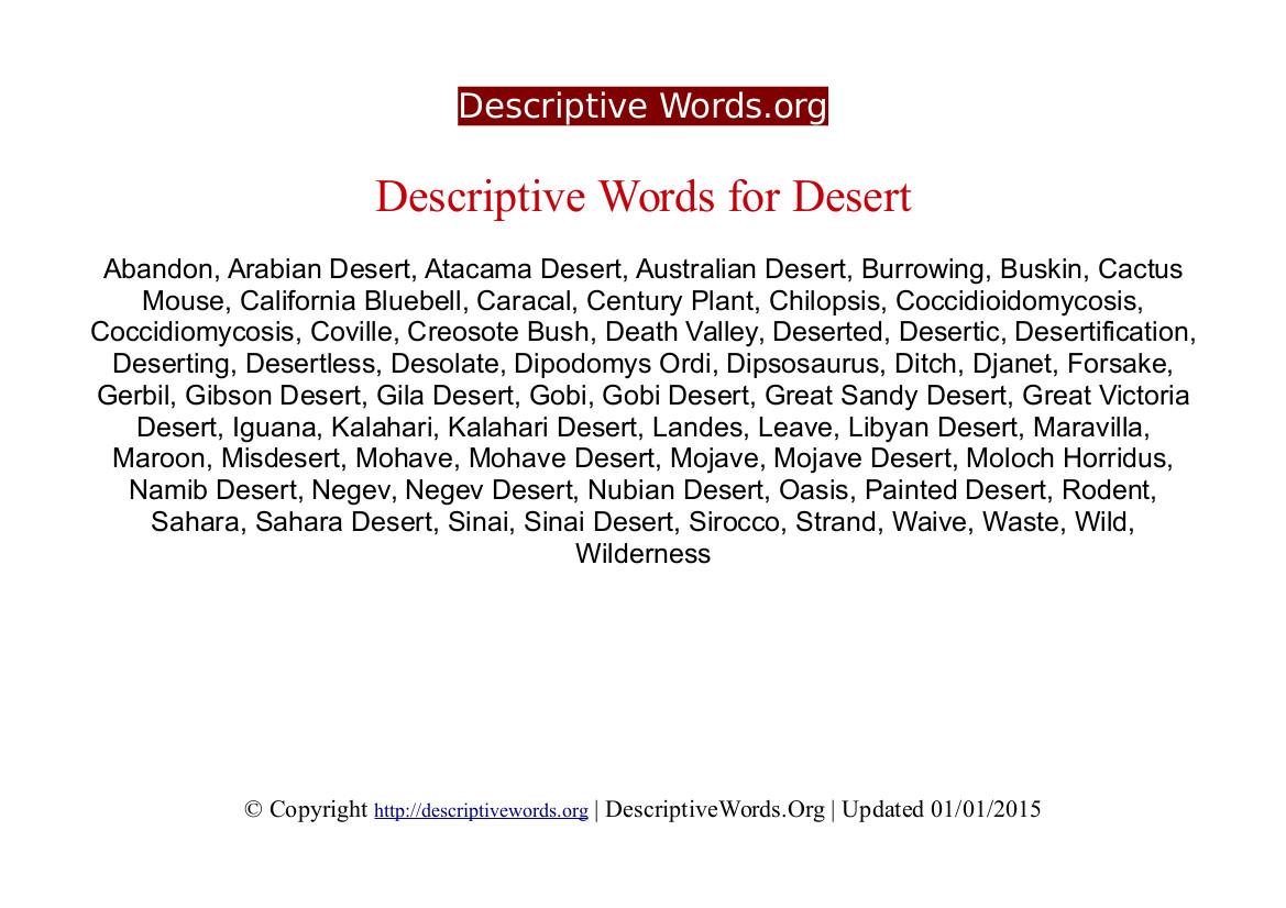 Desert Descriptive Words