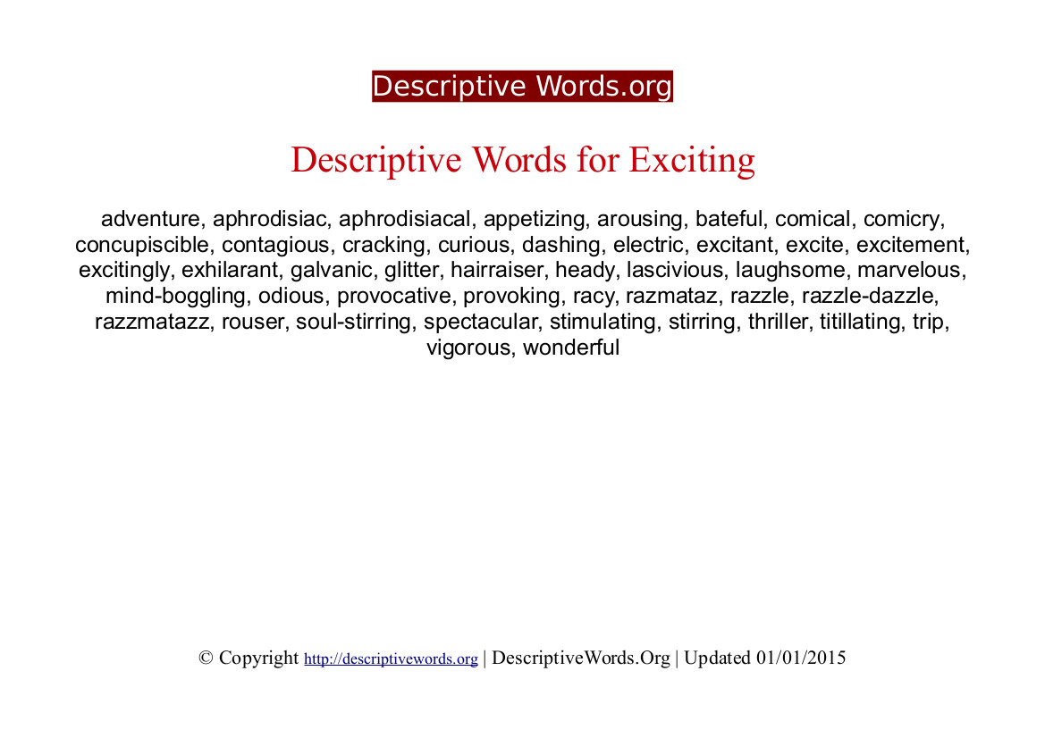 Exciting Descriptive Words