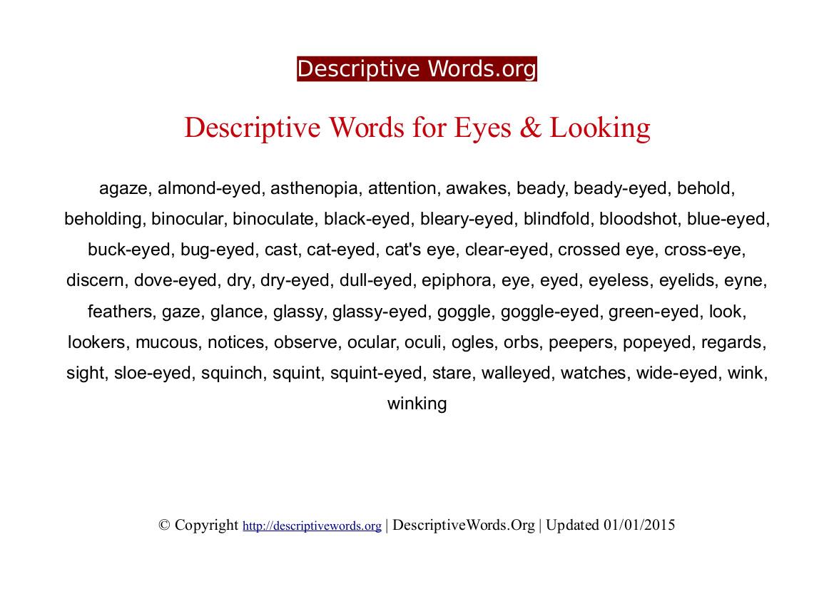 Eyes Descriptive Words