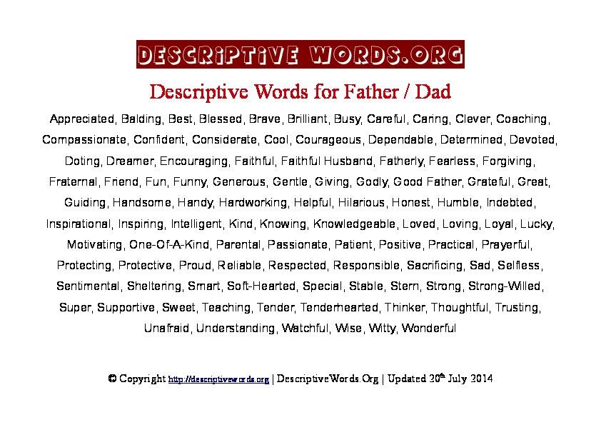 Father Descriptive Words