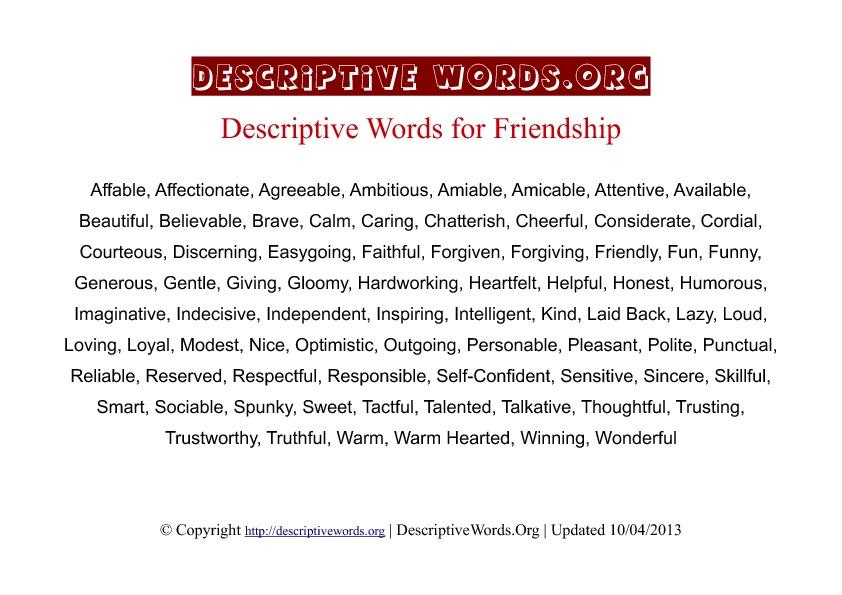 Friendship Descriptive Words