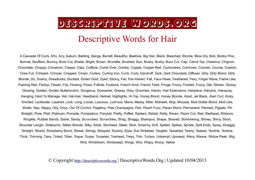 Hair Descriptive Words