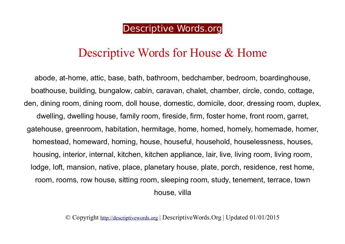 Home Descriptive Words