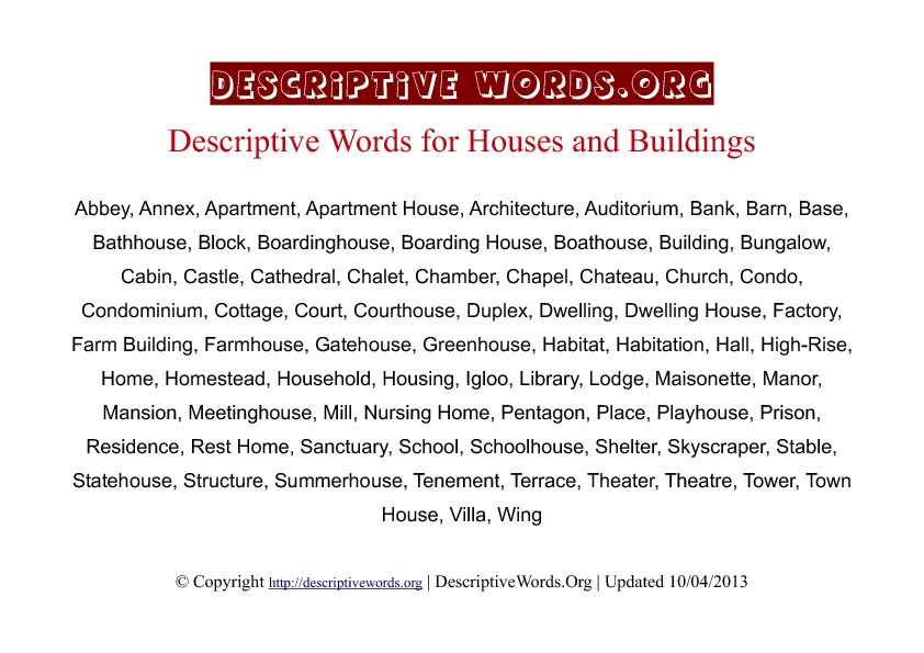 Houses Descriptive Words