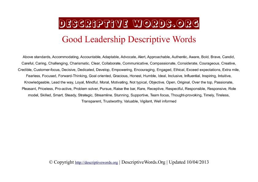 Leadership Descriptive Words