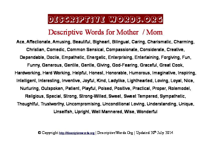 Mother Descriptive Words