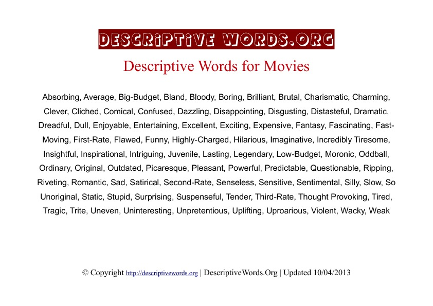 Movies Descriptive Words