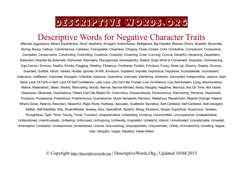 Negative Character Traits Descriptive Words