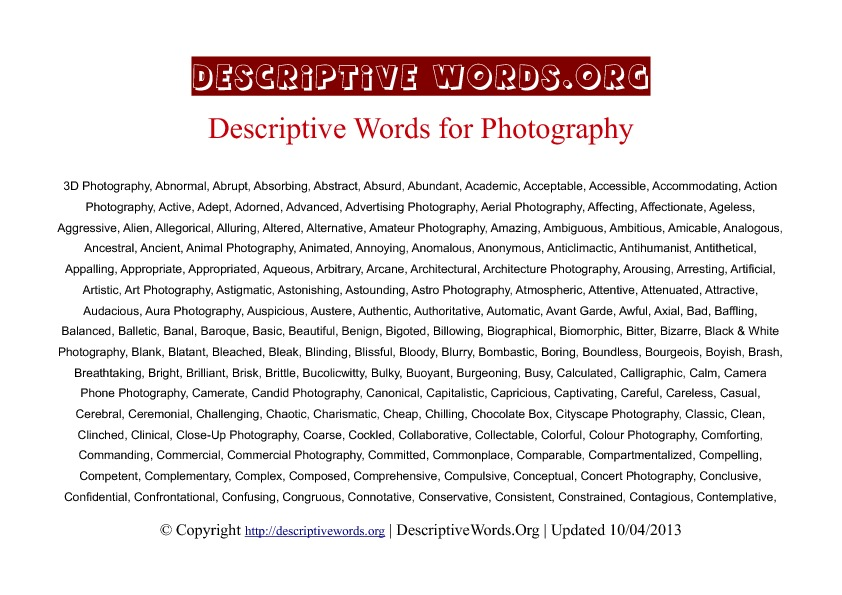 Photography Descriptive Words