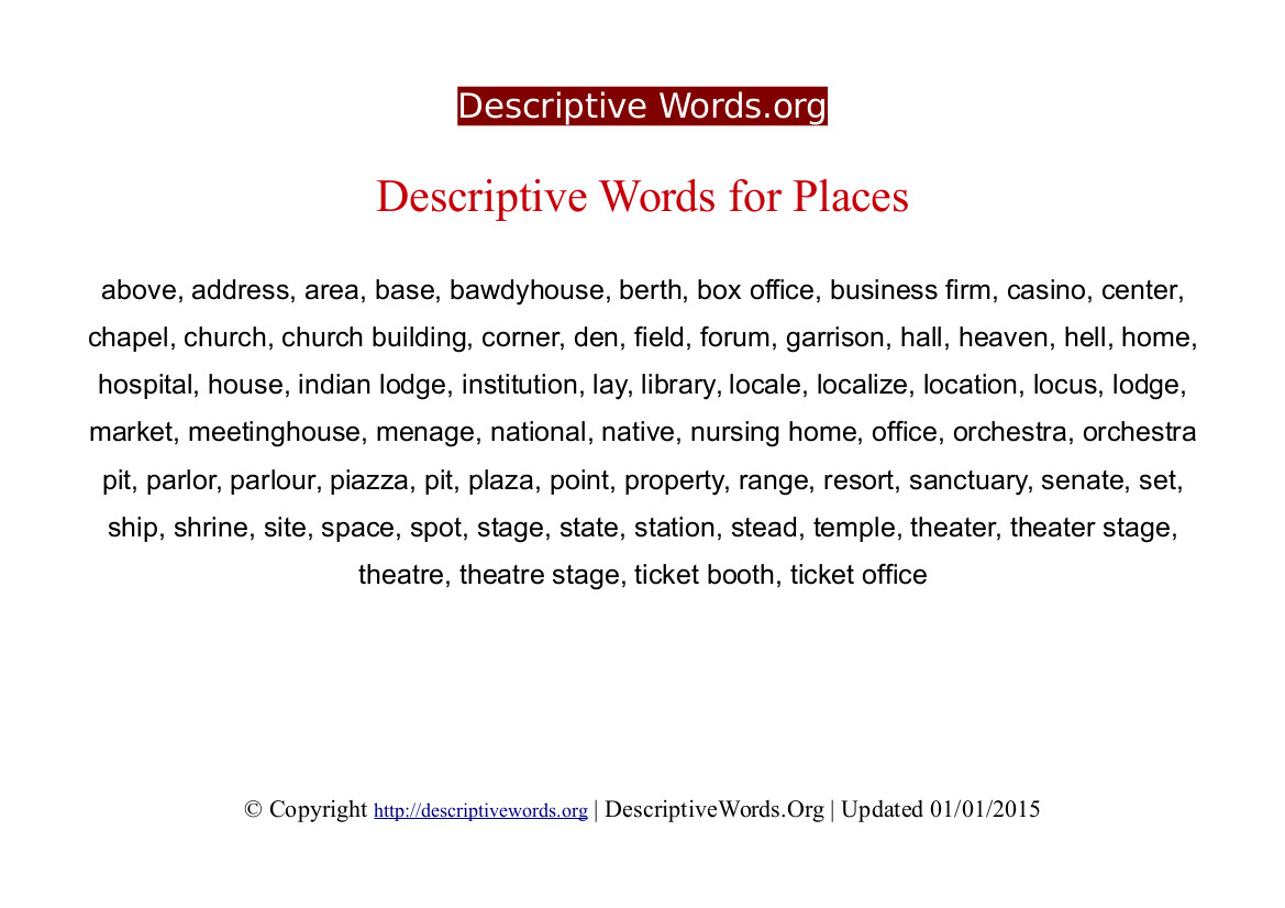 Places Descriptive Words