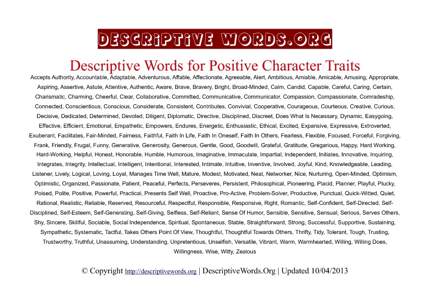 Positive Character Traits Descriptive Words