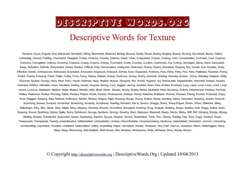 Texture Descriptive Words