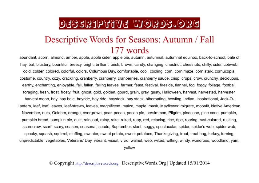 Autumn / Fall season Descriptive Words