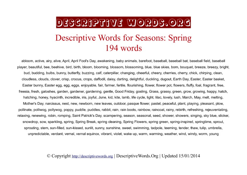 Spring season Descriptive Words