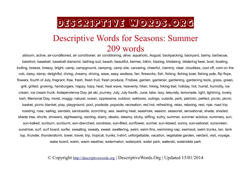 Summer season Descriptive Words