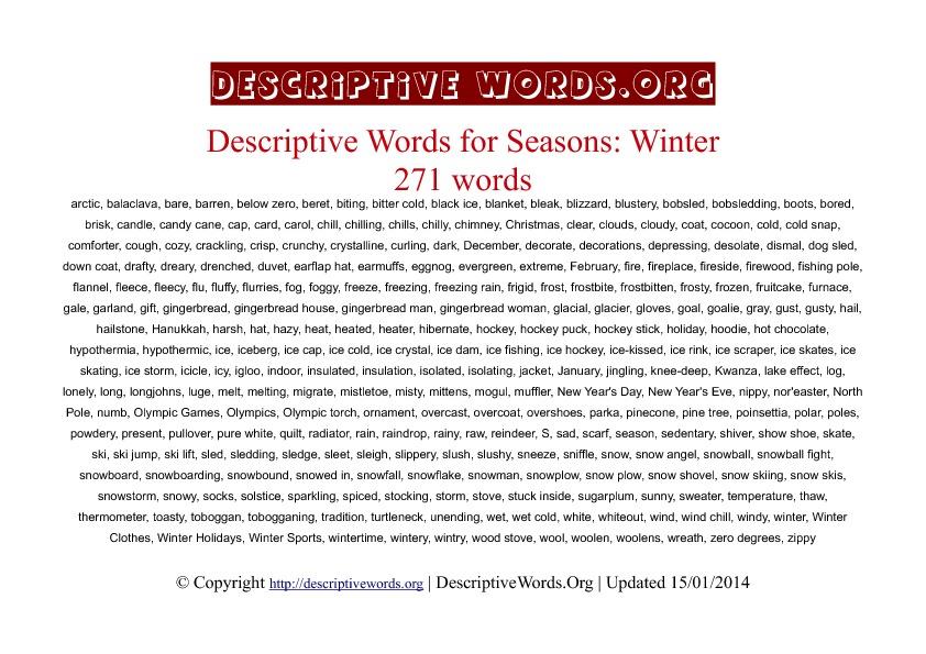 Winter season Descriptive Words